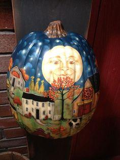 OOAK, New England Prim Folk Art Autumn Village Scene on Pumpkin, Hand Painted #PrimFolkArtHalloweenFallDecor