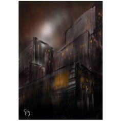 """Citymoon"", 2016⠀ ⠀ #moon #city #gotham #gothamcity #architecture #abstractart #painting #illustration #contemporaryart #art #digialart #digialillustration #procreate #procreateapp #malerei #sketch #arte #artwork"