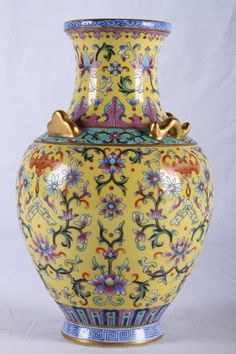 CHINESE DAQINGQIANLONGNIANZHI MARKED YELLOW GROUND PORCELAIN VASE PAINTED WITH…