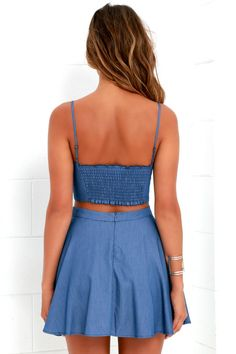 Wherever you roam, the Accompany Me Blue Chambray Two-Piece Dress will provide effortless style the entire way! Chambray crop top has a matching skirt. Preppy Outfits, Simple Outfits, Skirt Outfits, Stylish Outfits, Girly Outfits, Cute Blue Dresses, Nice Dresses, Tween Fashion, Curvy Women Fashion