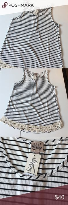 """NWT Ivory & Black Stripe Lace Detail Tank Brand new with attached tags. Women's size large. Also available in navy/ivory stripe (see separate listing). Measures 19"""" armpit to armpit and 27"""" shoulder to hem. RETAIL $40. PRICE IS FIRM. Como Vintage Tops Tank Tops"""