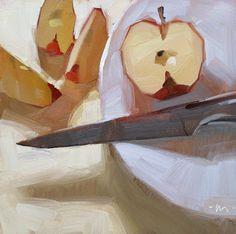 "Daily Paintworks - ""Apple Divided"" - Original Fine Art for Sale - © Carol Marine Painting Still Life, Still Life Art, Paintings I Love, Oil Paintings, Apple Painting, Food Painting, Painting & Drawing, Fashion Painting, Fruit Art"