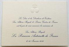 Faire-part de la naissance de la princesse Antoinette de France