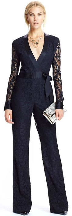 Sexy And Chic Jumpsuit Fashion Ideas Mode Chic, Mode Style, Party Looks, Jumpsuit Damen Elegant, Lace Jumpsuit, Retro Fashion, Womens Fashion, Fashion 2014, Fashion Black