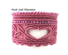 Heart of Love Cuff in Micro Macrame Wide Bracelet in Mauve Pink by KnotJustMacrame on Etsy