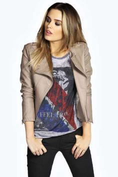 Sarah Faux Leather Jacket at boohoo.com