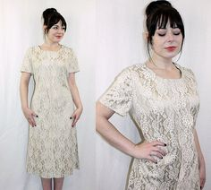 Vintage 1960s Handmade LACE SHIFT Wedding Dress, $60
