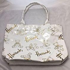 Harrods-UK-White-Vinyl-Gold-Teddy-Bears-Shopping-Bag-Tote-Purse