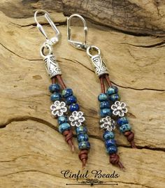 Artículos similares a Seed Bead Leather Earrings-Southwestern Red, Brown, Yellow Or Cobalt Picasso Seed Bead Earrings-Boho Leather Earrings en Etsy