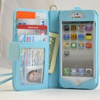 Cool Stuff - iPhone DeluxeWallet Leather Case with Removable Strap for iPhone 5 - Pockets to Keep Bank Cards Driving License Bills , Belongings Safe - Light B