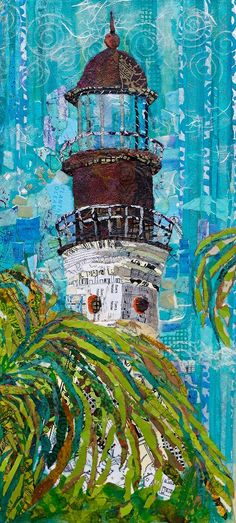 Lighthouse fabric collage by Elizabeth St. Hilaire  Nelson