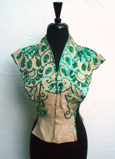 Vintage Vest in Cream w/ Green Sequins by ShopGlammasAttic on Etsy, $45.00