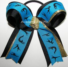 Gymnastics Bow Ponytail Holder Blue Gold by accessoriesbyme