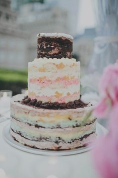 Pretty pink, brown and cream naked wedding cake | Photo by Sean Flanigan via june.bg/1pIt125