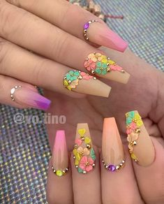 Likes, 10 Comments - Nails top master💅🏼 ( on Insta. Hot Nails, Swag Nails, Bling Nails, Summer Acrylic Nails, Best Acrylic Nails, Summer Nails, Stylish Nails, Trendy Nails, Jolie Nail Art
