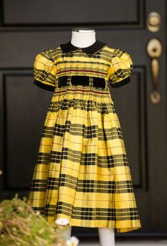 Heirloom-quality, embroidered yellow and black Tartan plaid silk girls' holiday dress by SweetBzzAndDaisies on Etsy https://www.etsy.com/listing/150752301/heirloom-quality-embroidered-yellow-and