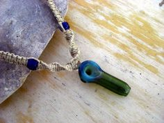 Blue Glass Pipe Pendant on Hemp Necklace