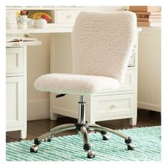 PB Teen Airgo Sherpa Armless Chair at Pottery Barn Teen - Teen Chairs... ($189) ❤ liked on Polyvore featuring home, furniture, chairs, office chairs, pbteen furniture, armless desk chair, pbteen, adjustable office chair and adjustable chair