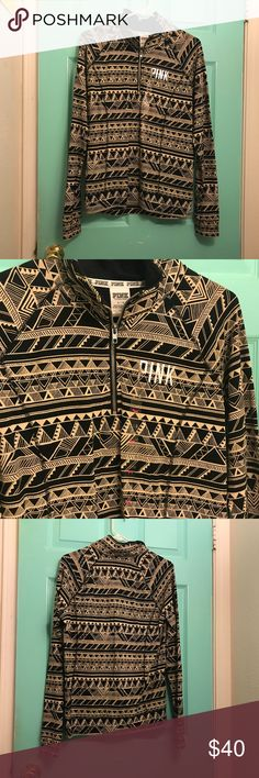 Victoria's Secret Athletic Pullover Large Tribal Large  Tribal Print   ¼ zipper at center front neck  Price tag fell off, but sticker tag is intact PINK Victoria's Secret Jackets & Coats