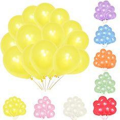 """TtS 100pcs 10"""" Nacre Ballon Gonflable Rond Deco pour Anniversaire Fete Mariage Enfant Jaune"""