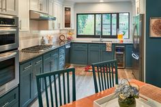 teal and white two-tone kitchen cabinets | Sabrina Alfin Interiors