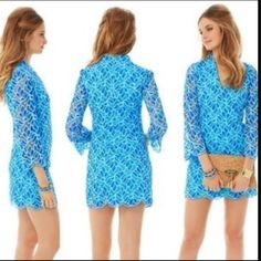 Lilly Pulitzer Devina Lace Tunic Dress Like new. Beautiful blue lace dress. Scalloped hem adds for an extra chic touch. Selling only! Lilly Pulitzer Dresses Mini