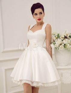 Vestido de noiva marfim até o joelho em tule e cetim com decote nas costas - Milanoo.com