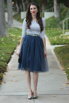 Navy tulle with stripes top. | Date Night Fashion.