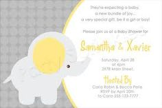 Google Image Result for http://www.partysprinkles.com/images/Yellow-Gray-baby-Elephant-polka-dots-Baby-shower-invitationSAMPLE.jpg