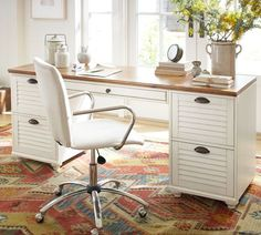 Whitney Rectangular Desk Set - Almond White | Pottery Barn