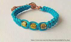 Turquoise & Gold Beaded Macrame Bracelet by JewellerybyRej on Etsy