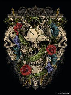 graphic illustration for tee Gothic Fantasy Art, Evil Art, Beautiful Dark Art, Raven Art, Skull And Bones, Skull Art, Chinese Art, Graphic Illustration, Graphic Art
