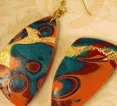 earrings - polymer - mokume gane