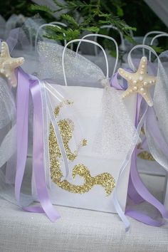 Mermaid Favor Bag from a Modern Monochromatic Mermaid Party