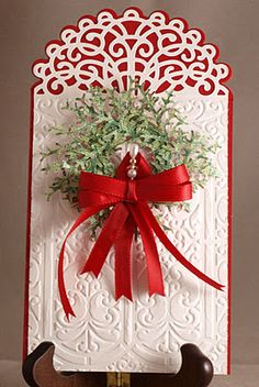 Christmas tag ~ Heartfelt Creations die HCD 716 Layered Elegant Swirl ~