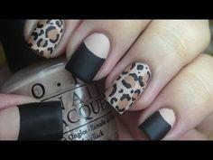 Matte leopard nails and halfmoon manicure