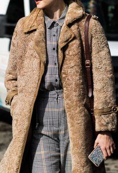 Check pattern shirt & trousers / Matching / Teddy bear coat / Textured fluffy