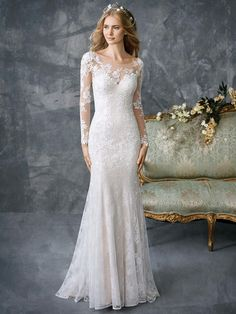 Every bride loves to look timeless, and we promise you that the gowns from this Spring 2018 Kenneth Winston Collection will never go out of style. These new gorgeous spring styles are dripping in classic glamour, with all our favorite trends including A-l Illusion Neckline Wedding Dress, Wedding Dress Necklines, Fit And Flare Wedding Dress, Illusion Dress, Long Wedding Dresses, Wedding Dress Sleeves, Bridal Dresses, Lace Sleeves, Lace Dress
