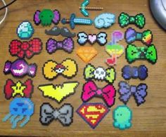 8-Bit Style Perler Bead Hair Bows and Bow Ties