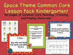 K Space Theme CCSS Lesson Planning Pack!  150 pages!  http://www.theorganizedclassroomblog.com/index.php/ocb-store/view_document/256-space-theme-kindergarten-common-core-lesson-planning-pack  $5.99