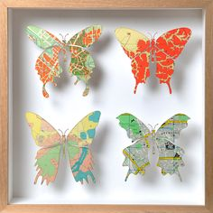 butterfly shadow box...  from vintage maps!