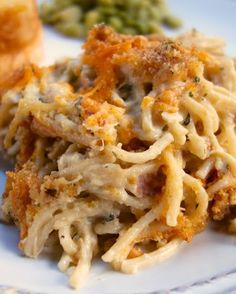 Cheesy Chicken Spaghetti Casserole - also makes a great freezer meal!