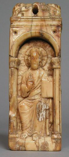 Reliquary Plaque with Christ Blessing, walrus ivory, possibly made in Cologne, Germany, circa 1200