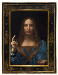 Leonardo de Vinces - Salvator Mundi painting at Christie's auction house in central London on Oct. 22, 2017 for $450 million.