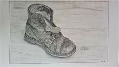Old leather boot drawing #graphite #leather #texture