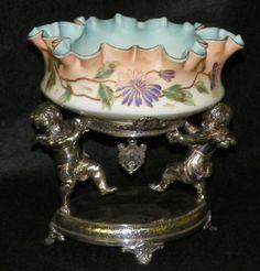 beautiful antique art glass brides baskets bowls - Google Search