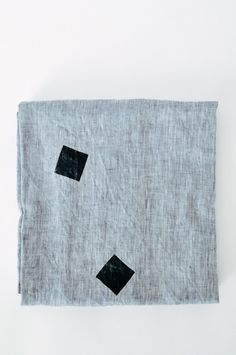 """Linen Throw """"Square Drops Gray"""" - hand crafted housewarming gift ideas."""