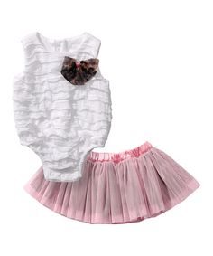 Love this White Ruffle Bodysuit & Reversible Tutu - Infant by Sweet Heart Rose on #zulily! #zulilyfinds