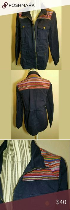 I Joah Utility Jacket Striped Shoulders Drawstring I Joah Utility Jacket Striped Shoulders Drawstring Waist Navy Blue Medium  Gorgeous jacket. No holes or stains.  20.5 inches pit to pit. 26 inches long.   LB I Joah Jackets & Coats Utility Jackets