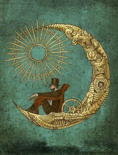 Moon Travel Art Print by Eric Fan